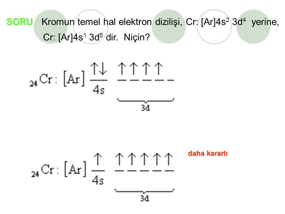 SORU : Kromun temel hal elektron dizilişi, Cr: [Ar]4s2 3d4 yerine,